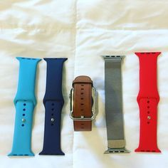 Got a few new band choices now for my Apple Watch! From left to right: Blue Sport Band Midnight Blue Sport Band Saddle Leather Classic Buckle Milanese Loop and Product(RED) Sport Band.  #iphoneonly #apple #applewatch #watchos #technology #electronics #mobile #instagood #instawatch #watchbands #photooftheday #teamapple #milanese #sportband #classicbuckle  #fashion #swag #style #stylish #swagger #photooftheday #handsome #cool #guy #man #styles #fresh #desmoines #clive #iowa by ajbrew