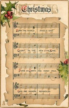 The Herald Angels Sing Christmas Sheet Music Vintage Graphic . Christmas Hearts, Noel Christmas, All Things Christmas, Decoupage Vintage, Vintage Diy, Vintage Ephemera, Christmas Sheet Music, Xmas Music, Illustration Noel
