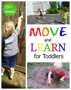 Great ideas to get the kids moving! Most can be adapted to the school environment. Move & Learn with toddlers: active ideas for learning math, science, language, and reading concepts! Toddler Play, Toddler Learning, Toddler Preschool, Early Learning, Kids Learning, Toddler Games, Montessori Toddler, Gross Motor Activities, Infant Activities