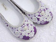 Rachel Wedding Shoes Bridal Ballet Flat Vintage     Gorgeous for a certain Rachel who loves purple!