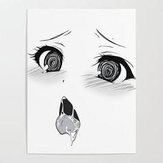 Ahegao III Poster by oneredfox Anime Henti, Yandere Anime, Kawaii Anime, Cute Black Wallpaper, Cute Wallpaper Backgrounds, Anime Face Drawing, Ahegao, Anime Suggestions, Hippie Art
