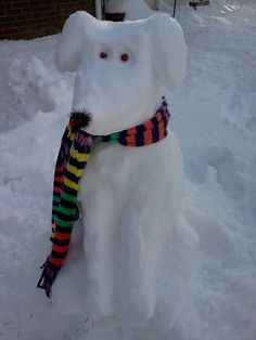 snow puppy is now sitting in our backyard. his eyes are made of rose bud seed pods and his nose is an echinacea seed pod! Snow Much Fun, I Love Snow, I Love Winter, Winter Fun, Winter Christmas, Winter Snow, Funny Snowman, Winter Schnee, Snow Sculptures