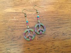 Handmade Beaded Earrings - Peace Sign Charm Earrings, Gold, Turquoise, Magenta and Purple Glass Beads by cemFLORAL on Etsy