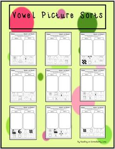 These fun printables give students the opportunity to sort the short vowel sounds using pictures. Students can first color the pictures, then cut the pictures and paste them into the correct vowel frame. These are great for emerging readers! And they are great to place in literacy stations. Kindergarten Reading Activities, Reading Resources, Classroom Resources, In Kindergarten, Teacher Resources, Classroom Ideas, Literacy Stations, Literacy Centers, Teaching Tools
