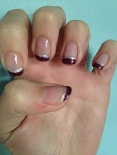 Burgundy French manicure with silver trim