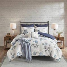 Charlton Home® Currin Comforter Set & Reviews | Wayfair Blue Comforter Sets, Floral Comforter, Duvet Sets, Duvet Cover Sets, Blue And White Comforter, Navy Comforter, Pillow Covers, Blue Duvet, Laura Ashley