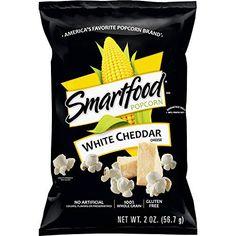 White cheddar cheese popcorn is the smartest choice. Air-popped popcorn is adorned with the incredible flavor of white cheddar ch White Cheddar Popcorn, Cheese Popcorn, White Cheddar Cheese, Smartfood Popcorn, Frito Lay, Road Trip Snacks, Flavored Popcorn, Salty Snacks, Popcorn