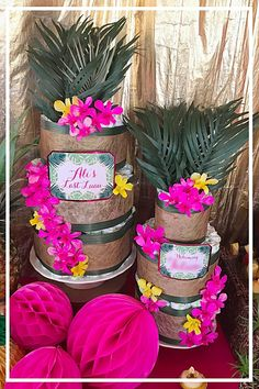 Tropical Pink and Gold Diaper Cake theme. Baby shower ideas.
