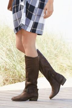 6035358be83b Chocolate Extra Wide Fit Casual Leather Strap Long Boots Long Boots