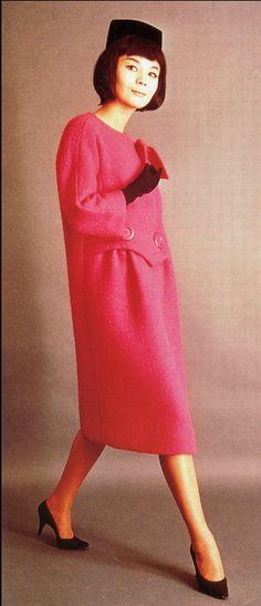 1960 Hiroko in a coat designed by Pierre Cardin