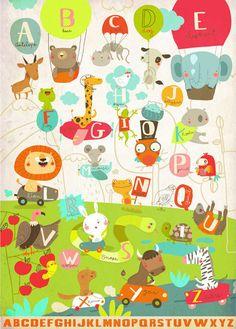 Fun alphabet print, lots of lovely animals
