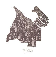 Tacoma Neighborhoods Map Print – Paper Luxe