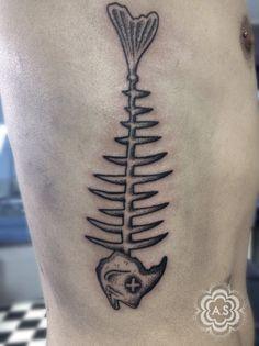 Fishbone tattoo - dotwork blackwork