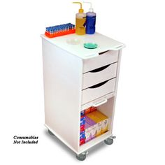 Lockable Compact Lab Cart with Clear Acrylic Sliding Door from PilgrimMedical.com organizes and secures supplies while navigating easily through small exam areas or crowded hospital patient rooms