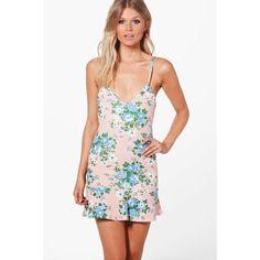 Boohoo Petite Lola Floral Stripe Strappy Pep Hem Dress ($8) ❤ liked on Polyvore featuring dresses, boohoo dresses, white striped dress, floral dresses, petite floral dress and stripe dresses
