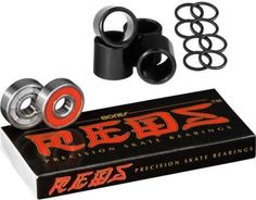 Bones Bearings Reds Bearings (8 Pack, Spacers & Washers) Skateboard Bearings, Skateboard Shop, Skate Bearings, Skateboard Parts, Packers, Cool Skateboards, Longboarding, High Speed, Skateboarding