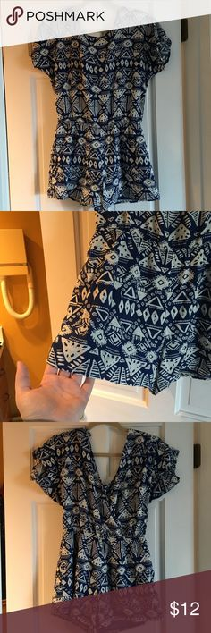 Adorable Blue and White Tribal Print Romper In great condition! Worn maybe 1 or 2 times Forever 21 Dresses