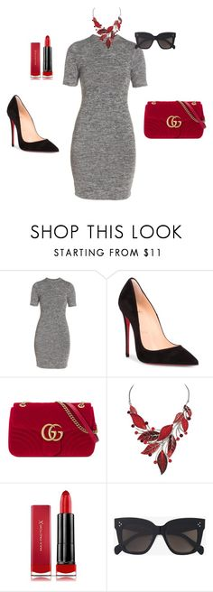 """""""Untitled #32"""" by ivananna on Polyvore featuring French Connection, Christian Louboutin, Gucci, Max Factor and CÉLINE"""