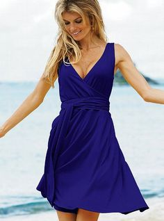 Daytime Jersey Sleeveless Wrap Dress in bright sapphire from Victoria Secret