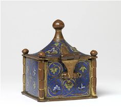 Pyx, Limoges, ca. 1200. Copper alloy, enamel, gold. Taken from the Greek word 'pyxis' meaning 'box-wood receptacle', pyxes were vessels used to house the Eucharist which was given to the congregation during the celebration of Mass.