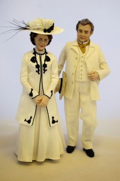 Miniature Victorian Couple in summer dress
