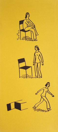Fine Art Screen Print. Black on ocher. Illustration. Picture sequence: a girl leaving a chair and walking away. by TacaMaca on Etsy https://www.etsy.com/listing/160302245/fine-art-screen-print-black-on-ocher