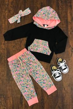 Grace Floral Infant Hoodie Pant Set - Sparkle in Pink Kids Outfits Girls, Cute Baby Girl Outfits, Toddler Outfits, Trendy Baby Clothes, Baby Kids Clothes, Baby Girl Fashion, Kids Fashion, Baby Sewing, Boutique Clothing