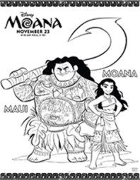 Free Printable Moana Activities and Crafts - Maui and Moana Coloring Page