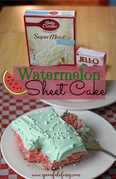 Looking for an easy summer dessert? Watermelon Sheet Cake starts with a boxed ca… Looking for an easy summer dessert? Watermelon Sheet Cake starts with a boxed cake mix and a box of jello and is oh so pretty! Brownie Desserts, 13 Desserts, Easy Summer Desserts, Healthy Desserts, Jello Deserts, Easy Summer Dinners, Sweet Desserts, Dessert Simple, Cake Mix Recipes