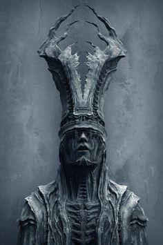 Mysterious Sculpture 2B, Tomasz Strzalkowski on ArtStation at https://www.artstation.com/artwork/QxbnL