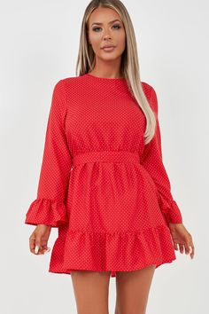 Hit us up for the hottest celeb trends and seriously hot styles at killer prices. Frill Dress, No Frills, Polka Dots, Dresses With Sleeves, Celebs, Long Sleeve, Hot, Style, Fashion