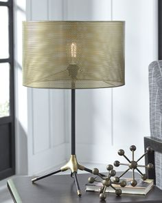 Signature Design by Ashley Furniture Gray & Brass Finish Mance Table Lamp Grey Table Lamps, Metal Table Lamps, Industrial Chic Style, Farmhouse Lamps, Cool Lamps, City Furniture, Street Furniture, Pipe Lamp, Metal Mesh