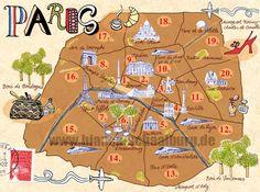 Paris - Karte von Bianca Schaalburg illustrated map of paris