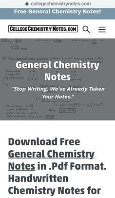 Chemistry Notes collegechemistrynotes on t
