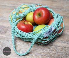 Einkaufsnetze häkeln – nurrosa Fingerless Mitts, String Bag, Knitted Blankets, Creative Inspiration, Arm Warmers, Knitting Patterns, Diy And Crafts, Weaving, Apple