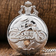 Xmas Gift Fashion Silver Quartz Pocket Watch Motorcycle Autocycle Autobike Women Men Necklace Pendant Chain Reloj De Bolsillo