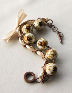 Beige Flowers Beads and Ivory Ribbon Bracelet by Maffa on Etsy