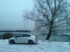 Prius at frozen sea in southern Finland