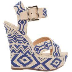 SCHUTZ 140mm Embroidered Linen Wedge Sandals ($151) ❤ liked on Polyvore featuring shoes, sandals, wedges, heels, обувь, platform shoes, platform wedge sandals, heel platform shoes, wedges shoes and schutz