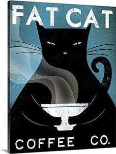 Ryan Fowler Premium Thick-Wrap Canvas Wall Art Print entitled Cat Coffee no City    If you are crazy for cats consider using trendy, fun and cool cat themed home decor.  Cat home decor is cute, adorable and charming.  Use cat accent pillows with cat wall clocks to create a cat themed living room or bedroom.  For the kitchen consider using a nice combo of cat drinking glasses and cat kitchen decor to create a perfect cat oasis. Don't forget to finish off your  cat home decor with a cuddly cat