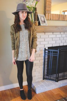 A perfect day for a cozy sweater ensemble. By the time my photographer (obliging husband) got home to snap some… Leather Leggings Look, Rainy Morning, A Perfect Day, Felt Hat, Cozy Sweaters, Husband, Hipster, Jeans, Jackets