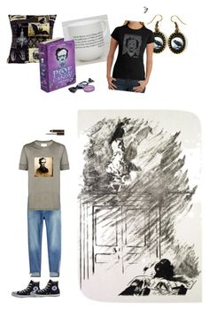 """""""Edgar Allen Poe"""" by pie89heart ❤ liked on Polyvore featuring Frame, Los Angeles Pop Art, Tom Ford, Converse and Maison Margiela"""