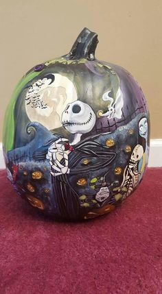 Jack Skellington painted pumpkin