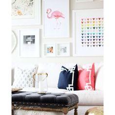 Caitlin Wilson Textiles | Coral Deco, Navy Deco, & Navy Anchors in a media room by Jillian Harris Design