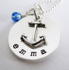 Anchor Necklace - Personalized Mothers Necklace - Nautical Baby - Hand Stamped Name - Sterling Silver - Birthstone. Would be cute with AST Family Tree names too! Anchor Necklace, Washer Necklace, Christmas Tree Decorations Ribbon, Family Tree Designs, Name Tattoos, Nautical Baby, Trendy Tree, Jewelry Design, Unique Jewelry