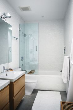 ontario vacation home master bathroom with ikea vanities and toto toilet