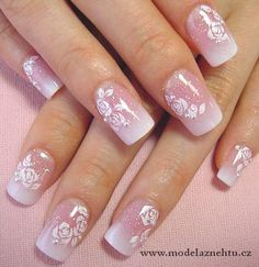 Nehtiky - Another! Pretty Nail Art, Beautiful Nail Art, Cute Acrylic Nails, Cute Nails, Bridal Nail Art, Bride Nails, Wedding Nails Design, Nail Art Videos, Fabulous Nails