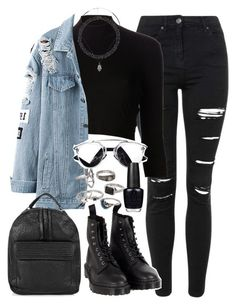 """Requested outfit"" by ferned ❤ liked on Polyvore featuring Topshop, Again, Dr. Martens, Mudd, OPI and Charlotte Russe"