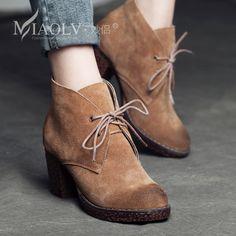 trova altre Informazioni circa New casual per donna stivali femminili tacco  di spessore del cuoio genuino 4544bc0d616