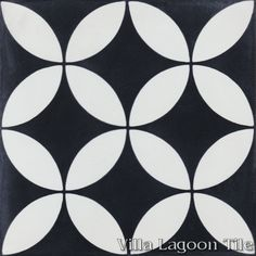 """""""Circulos B Black and White"""" Encaustic Cement Tile, from Villa Lagoon Tile."""